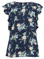 Dorothy Perkins Womens Navy Floral Print Ruffle Sleeve Top, Navy