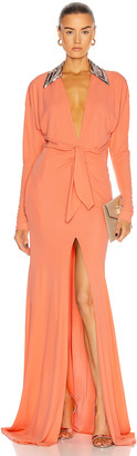 Dundas Long Sleeve Cinched Gown in Coral | FWRD