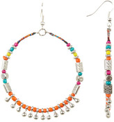 Cara Accessories Large Seed Beaded Hoop Earrings