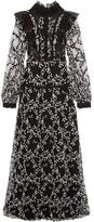 Giambattista Valli Ruffled Embellished Fil Coupé Organza Gown - Black