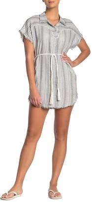 Dolce Vita Stripe Waist Tie Cover-Up Shirt Dress