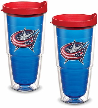 Tervis 1087488 NHL Columbus Blue Jackets Primary Logo Tumbler with Emblem and Red Lid 2 Pack 24oz