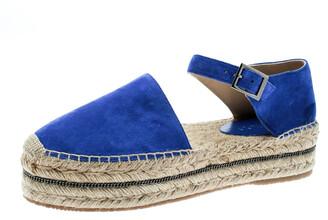 Jimmy Choo Cobalt Blue Suede Delphine Ankle Strap Espadrille Platform Sandals Size 40
