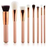 Summifit 8 Pcs Professional Makeup Brushes Set Powder Foundation Contour Blending Eyeshadow Blush Brush Kit (Pink Rose Gold)