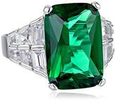 "Kenneth Jay Lane CZ by Trend"" Green Emerald Cubic Zirconia Tapered Sides Adjustable Ring, Size 5-7, 18 CTTW"