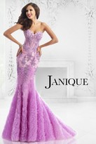 Janique - Corset Style Ruffle filled Mermaid Gown 1515