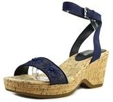 Lauren Ralph Lauren Odelia Women Open Toe Leather Blue Wedge Heel.