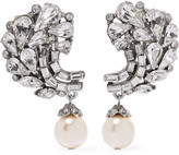 Ben-Amun Silver-Plated Crystal And Faux Pearl Clip Earrings