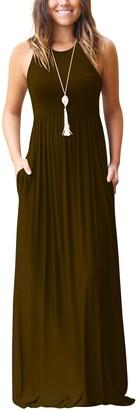 ZIOOER Women Sleeveless Solid Color Loose Plain Long Maxi Dress Casual Pockets Dresses Coffee Medium