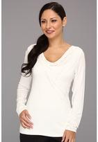 Pendleton Petite L/S Drape Neck Pullover (Ivory) - Apparel