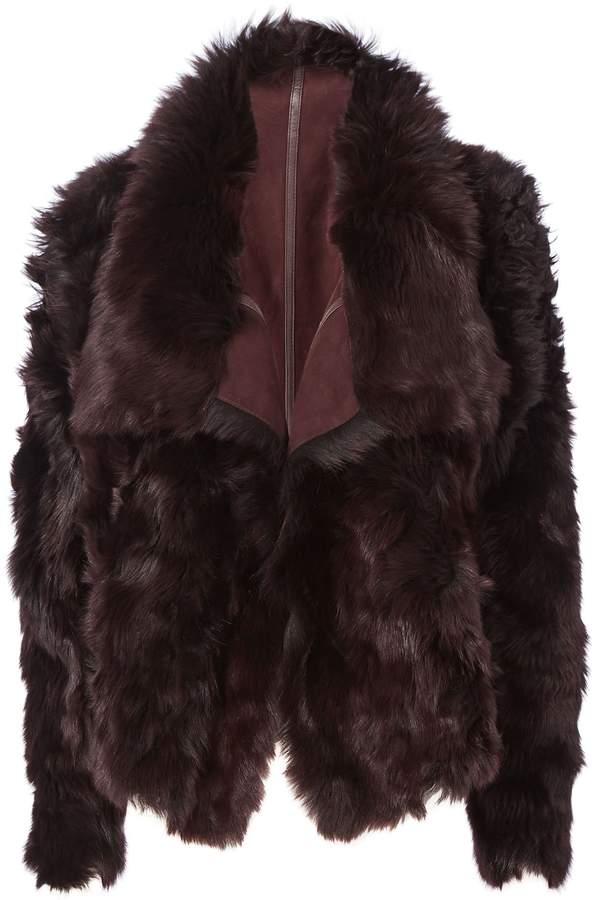 Yves Salomon Reversible Burgundy Shearling Coat