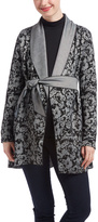 Black Floral Shawl Collar Maternity Wrap Coat
