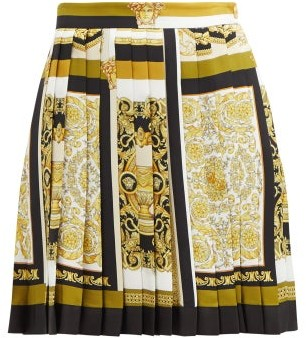 Versace Baroque-print Pleated Silk Mini Skirt - Yellow Print