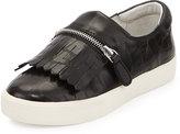 Ash Instant Croc-Embossed Zip-Fringe Sneaker, Black