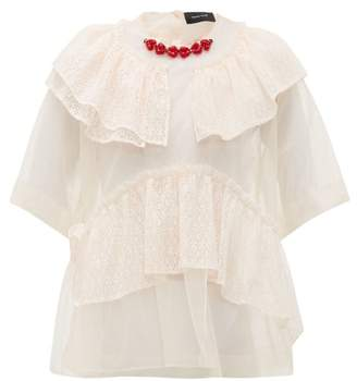 Simone Rocha Beaded Neckline Tulle And Lace Blouse - Womens - Beige