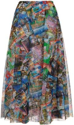 Balenciaga All Over Postcard Print Skirt