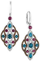 LeVian Le Vian Chocolatier® Multi-Gemstone (4 ct. t.w.) and Diamond (1-1/4 ct. t.w.) Drop Earrings in 14k White Gold