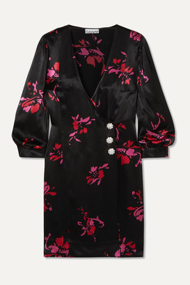 Ganni Crystal-embellished Floral-print Satin Wrap Mini Dress - Black