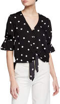 Laundry by Shelli Segal Striped Tie-Front Button-Down Blouse