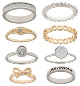 Women's Stackable Ring Set with Eiffel Tower, Bow, Multicolored Heart Ring, Glitter Paper, and Pave Ring-Crystal