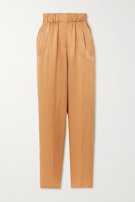 Forte Forte Hammered Silk-satin Tapered Pants - Gold