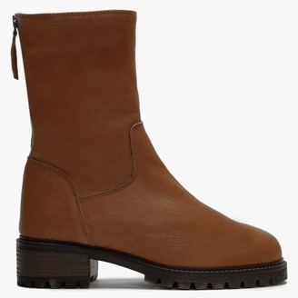 Lamica Tan Leather Fleece Lined Ankle Boots