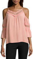 BY AND BY by&by Short Sleeve V Neck Crepe Blouse-Juniors