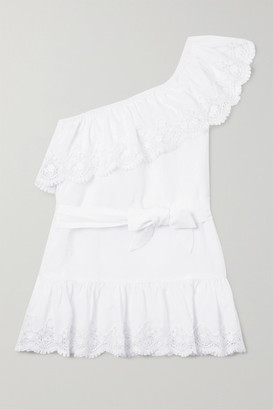 Miguelina Kids - One-shoulder Lace-trimmed Cotton Dress - White