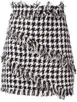 MSGM fringed Houndstooth mini skirt
