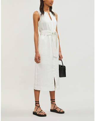 Vince Pencil-Stripe Sleeveless Crepe Midi Dress