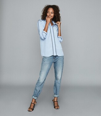 Reiss Ella - Tipped Long Sleeved Shirt in Blue