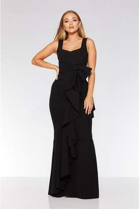 Quiz Black Bow Ruffle Front Maxi Dress