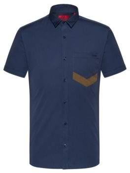 HUGO BOSS - Extra Slim Fit Short Sleeved Shirt With Chevron Pocket - Dark Blue
