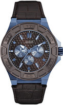 guess dial men s watches shopstyle uk guess men s round brown dial brown leather strap watch