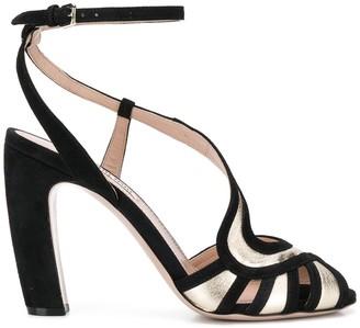Miu Miu Metallic Curved Strap Sandals