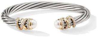 David Yurman Helena 18K Yellow Gold, Pave Diamond & Pearl Twisted Cable Bracelet