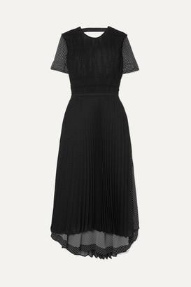 Loewe Layered Polka-dot Chiffon Maxi Dress - Black