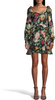Nicole Miller Reine Rose Silk Tie Shoulder Mini Dress