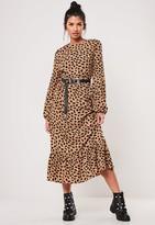 Missguided Petite Stone Dalmatian Print Ruffle Hem Midi Smock Dress