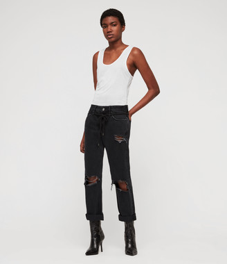 AllSaints Alana Boyfriend Low-Rise Ripped Jeans, Washed Black