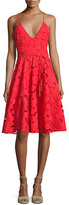 Badgley Mischka Floral Lace Fit & Flare Dress w/Tassel Belt
