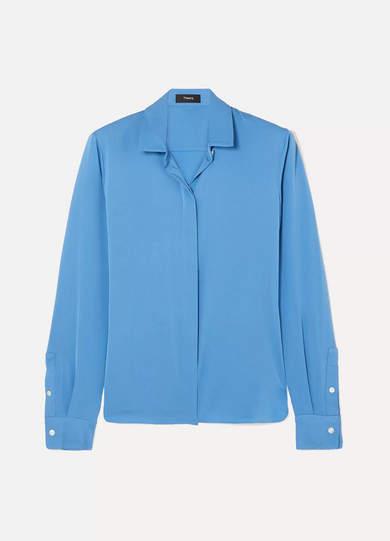 Theory Stretch-silk Crepe De Chine Shirt - Light blue