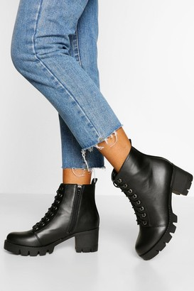 boohoo Wide Fit Lace Up Block Heel Hiker Boot