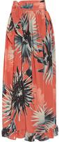 Adriana Degreas - Floral-print Silk Crepe De Chine Pareo - Coral