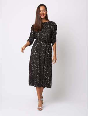 George Black Foil Star Print Ruched Sleeve Midi Dress