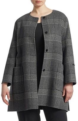 Marina Rinaldi, Plus Size Notte Wool Plaid Coat