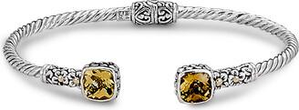 Samuel B. 18K & Sterling Silver 2.90 Ct. Tw. Citrine Hinged Bangle Bracelet