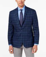 Ryan Seacrest Distinction Men's Modern-Fit Navy Windowpane Linen Sport Coat, Created for Macy's