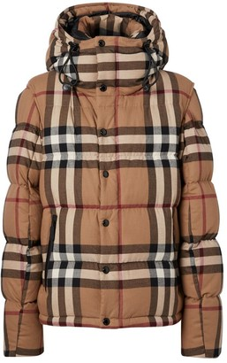Burberry Detachable Sleeve Check Cotton Hooded Puffer Jacket