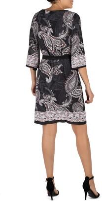 Sandra Darren Quarter Sleeve Paisley Belted Puff Shift Dress